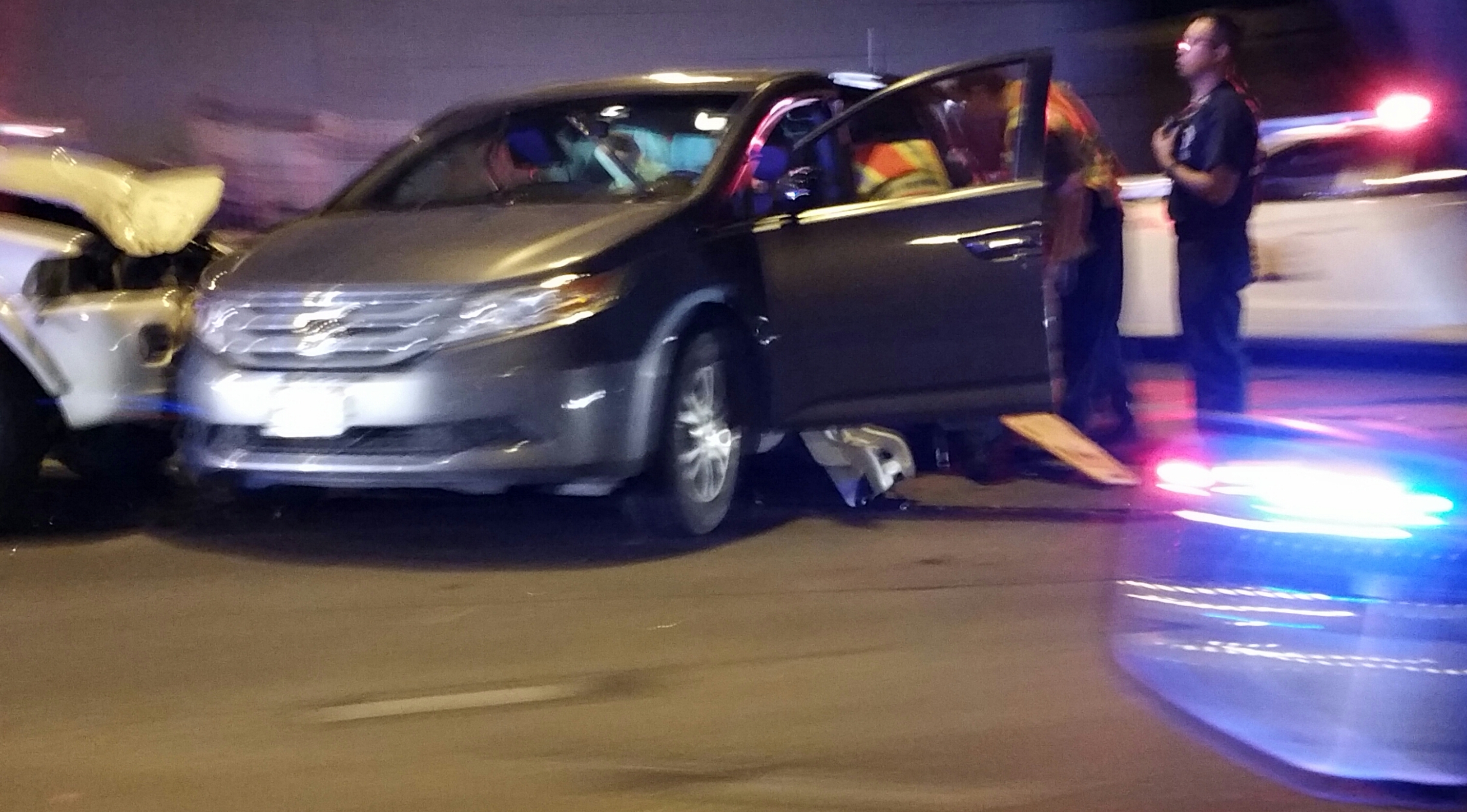 A suspect fleeing Utah Highway Patrol troopers on Saturday night collided with three other vehicles in Midvale. Photo: Gephardt Daily