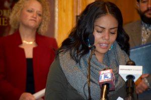Native American activist Cassandra Begay thanks Mayor Jackie Biskupski for declaring November Native American Heritage Month in Salt Lake City, Nov. 1, 2016