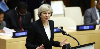 British Prime Minister Theresa May condemned a speech by U.S. Secretary of State John Kerry on Thursday, during which Kerry harshly criticized the Israeli government's policy on Palestine. May said the United States should refrain from critiquing the domestic political process of an ally. File Photo by Monika Graff/UPI