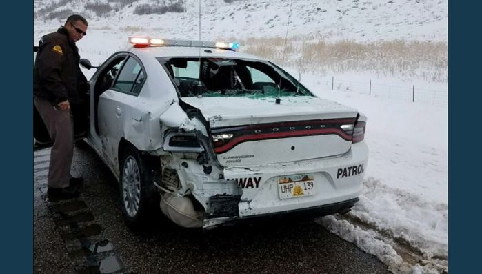 Driver slams into trooper's auto at 78 miles per hour in Millard County; UHP: 'Slow down'