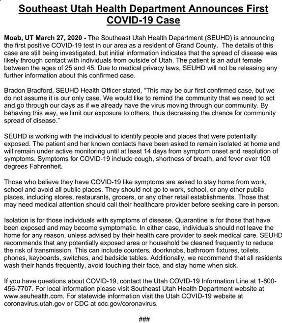 Grand County Reports First Confirmed Case Of COVID-19